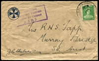 Lot 1516:Wagga Wagga Mil. P.O. (2): - '[MIL.P].O.WAGGA WAGGA/?JY43/[N.S.W-A]UST' on 1d green QE on Church of England Rest Hut cover, boxed censor 2185 on face.  PO 24/8/1942; closed 22/1/1947.