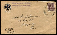 Lot 7546:Wagga Wagga Mil. P.O. (2): - '[MIL.]P.O.WAGGA WAGGA/?4/[N.S.W]-AUST' on 1d purple-brown QE on Church of England Rest Hut/Wagga cover.  PO 24/8/1942; closed 22/1/1947.