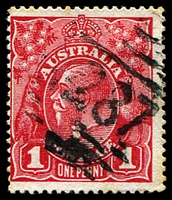 Lot 1288:1287: '[1]287' BN 1d red KGV.  Allocated to Aliceton-RO 16/4/1884; PO 1/4/1885; replaced by Karuah PO 1/1/1892.