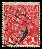 Lot 1160:1571: '1571' BN on 1d red KGV. [Rated 3R]  Allocated to Wentworthville-PO 10/10/1890.