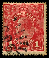 Lot 1022:206: '206' rays (2R20) on 1d red KGV.  Allocated to Sackville Reach-PO 1/1/1858; closed 29/6/1967.
