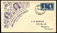 Lot 4242:1937 Coronation 2½d blue with purple cachet, printed address for A, H, BERGEN,...,Wanganui.. in blue.