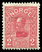 Lot 4273:1909 Haakon VII SG #132 2kr carmine Die B (21mm high), Cat £150. Ex UPU distribution.