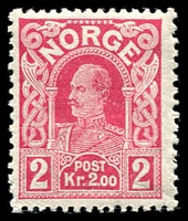 Lot 4275 [2 of 2]:1910-18 Haakon VII SG #157-8 2kr carmine & 5kr indigo violet, Cat £10. Ex UPU distribution. (2)