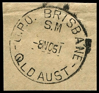 Lot 1403:Brisbane: - 'G.P.O. BRISBANE/S.M/8NO51/QLD AUST' (Superintendent Mails) on piece.  PO c.-/4/1830.