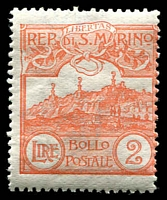 Lot 4409 [1 of 2]:1921-23 Mt Titano New Colours SG #73-85 complete set, 90c rounded corner, Cat £43. Ex UPU distribution. (13)