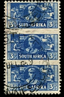 Lot 4444:1941-46 War Effort Bantams SG #101 3d blue triplet, Cat £18.