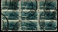 Lot 4170:1942-44 War Effort (Reduced Size) SG #103 4d slate-grey triplet block of 9, Cat £33.
