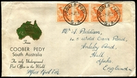 "Lot 2103:Coober Pedy: - 'COOBER PEDY/3JE39/S.A' on ½d Roo strip of 4 on souvenir cover, signed by ""Alfred.North PM"", minor faults.  PO 18/9/1920."