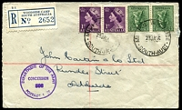 Lot 10204 [1 of 2]:Woodside Camp: - 'MI  P.O. WOODSIDE/23JA56/SOUTH-AUST' on 4d Koala x2 & 1d violet QEII x2, bearing 'Woodside Camp' blue C6 registration label on cover to Adelaide, with circular 'DEPARTMENT OF THE ARMY/CONCESSION/508/POSTAGE RATE' (A1) in purple.  PO 9/5/1949; closed 5/2/1993.