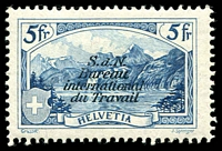 Lot 28518:1928 B.I.T. SG #LB29 5fr deep blue (Sprenger) Cat CHF 500. Only issued as mint stamps through UPU distribution not priced mint by SG. Ex UPU distribution.