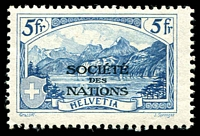 Lot 28523:1928 'SOCIÉTÉ DES NATIONS' SG #LN31 5fr deep blue (Sprenger) Cat CHF 540. Only issued as mint stamps through UPU distribution not priced mint by SG. Ex UPU distribution.