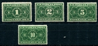 Lot 28602 [2 of 2]:1913 Parcel Post Sc #JQ1-5 1c to 25c complete, 10c & 25c are yellowish green shade, hinge rems, Cat $332. Ex UPU distribution. (5)