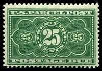 Lot 28602 [1 of 2]:1913 Parcel Post Sc #JQ1-5 1c to 25c complete, 10c & 25c are yellowish green shade, hinge rems, Cat $332. Ex UPU distribution. (5)