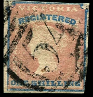 Lot 2352:1854-55 Imperf Calvert Woodblocks SG #34 1/- Registered Die 1 [pos 24] 2½-margins, Cat £200, cancelled with BN '54' of Kilmore Rated R.