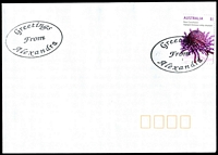 Lot 2567:Alexandra: - oval 'Greetings/from/Alexandra' on $1 on unaddressed cover.  Renamed from Redgate PO 24/4/1867; LPO 1/12/1997.