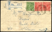 Lot 2204 [1 of 2]:Ararat: - WWW #740 28mm 'MONEY ORDER/16FEB33/ARARAT' on 1d green & 2d red KGV x2 on cover (soiled) with roughly torn pale blue & black C5 registration label. [Rated 2R]  Replaced Cathcart PO 31/8/1857.