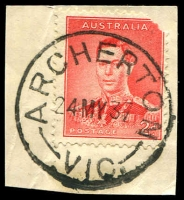 Lot 2495:Archerton: - WWW #20 'ARCHERTON/24MY37/VIC.' on 2d red KGVI on piece. [Rated 2R]  PO 1/4/1895; RO 15/10/1917; PO 1/7/1927; closed 30/11/1965.
