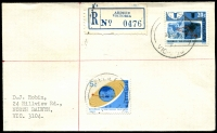 Lot 2214 [1 of 2]:Ardeer: - 'RELIEF/30AU68/64/[VIC-AUST]' 5c & 25c on cover with blue registration label.  PO 1/12/1953; closed 16/2/1979.