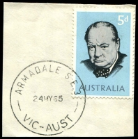 Lot 2503:Armadale: - WWW #160A 'ARMADALE S.E.3/24MY65/VIC-AUST' (arcs 4½,5) on 5d Churchill on piece. [Rated 2R]  PO 2/10/1884; LPO 14/2/1994.