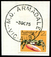 Lot 2509:Armadale: - WWW #450B 'M.O. ARMADALE/3OC75/VIC-AUST' on 2c on piece. [Rated 2R]  PO 2/10/1884; LPO 14/2/1994.