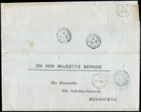 Lot 2516 [1 of 2]:Armstrong's (1): - WWW #20 unframed 'ARMSTRONGS/OC31/84/VICTORIA' (LRD), on Solicitor-General circular, fine TPO 7 b.s of same date. [Rated 3R]  PO 1/1/1859; closed c.1917.