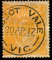 Lot 2569:Ascot Vale: - WWW #50 24mm '[A]SCOT VALE/20AP17/VIC' (arcs 6,5½ - ERD) on 4d orange KGV. [Rated 2R]  Renamed from Ascot Vale West PO c.1893.