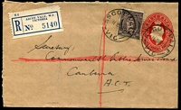 Lot 2570 [1 of 2]:Ascot Vale: - WWW #60 27mm 'ASCOT VALE/11MR49/VIC' (arcs 5,6½) on 3d brown KGVI on 2½d Envelope with blue registration label. [Rated R]  Renamed from Ascot Vale West PO c.1893.