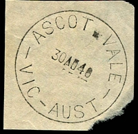 Lot 2571:Ascot Vale: - WWW #80A 'ASCOT VALE/30AU40/VIC-AUST' (arcs 3,3 - ERD) on piece. [Rated 2R]  Renamed from Ascot Vale West PO c.1893.