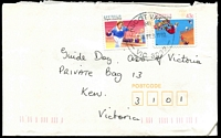 Lot 13541:Ascot Vale: - WWW #480 32½mm 'ASCOT VALE/(4)/28FEB1992/VIC. 3032' on 43c & 2c on cover.  Renamed from Ascot Vale West PO c.1893.