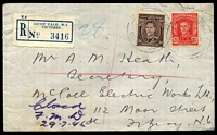 Lot 2253 [1 of 2]:Ascot Vale: - light 'RELIEF/26JY46/NO 10.' on 3d brown KGVI & 2½d red KGVI on cover with blue registration label. Only recorded example.  Renamed from Ascot Vale West PO c.1893.
