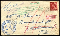 Lot 2257 [1 of 2]:Ashburton: - WWW #40 'ASHBURTON S.E.11/215P29JE56/VIC-AUST' (arcs 2,1½) backstamp on unclaimed letter from Melbourne.  PO 15/12/1927.