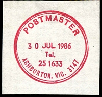 Lot 12297:Ashburton: magenta 34mm double-circle 'POSTMASTER/30JUL1986/Tel. 25 1633/ASHBURTON VIC. 3147' WWW #420 (LRD) on piece. [Rated 3R]  PO 15/12/1927.