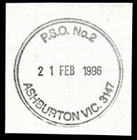 Lot 13603:Ashburton: - WWW #480 41mm double-circle 'P.S.O. No. 2/21FEB1996/ASHBURTON VIC. 3147' on piece.  PO 15/12/1927.