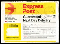 Lot 2630:Ashburton: - WWW #490 41mm double-circle 'P.S.O. No. 3/10JUL1995/ASHBURTON VIC. 3147' on Express Post Envelope, boxed '[DELIVE]RY GUARANTEE VOID/INCORRECTLY POSTED' on face  PO 15/12/1927.