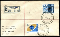 Lot 2264 [1 of 2]:Ashwood: - 'RELIEF/13AU68/NO 28.' on 5c & 20c Weather Watch on registered cover with blue registration label with 'S.E.11' obliterated.  Renamed from Ashburton East PO 1/3/1951; LPO 26/10/1993.