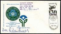 Lot 13618:Asia-Pacific Jamborella: - WWW #10 'ASIA-PACIFIC JAMBORELLA/[logo]/31DEC1984/1984-1985/DANDENONG VIC. 3175' on 30c on illustrated official souvenir cover autographed by 'D.M. Baden-Powell', grandson of Lord Baden-Powell. Scout Flying Activity handstamp on face