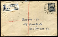 Lot 2655 [1 of 2]:Auburn South: - WWW #10B 'AUBURN SOUTH/19OC46/VIC' (line above VIC removed - A1 backstamp) on 5½d Emu on cover with blue registration label.  RO c.-/10/1923; PO 1/7/1927; LPO 1/7/1993.