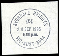 Lot 2691:Avondale Heights: - WWW #320 30½mm 'AVONDALE HEIGHTS/(5)/28SEP1995/5.00 p.m./VIC-AUST-3034' on piece.  PO 9/12/1957; LPO 14/7/1997.