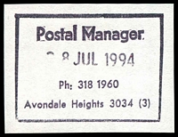 Lot 2694:Avondale Heights: - WWW #810 37x27mm boxed 'Postal Manager/28JUL1994/Ph: 318 1960/Avondale Heights 3034 (3)' (8DL - ERD) on piece.  PO 9/12/1957; LPO 14/7/1997.