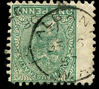 Lot 3356:Albany: - lef half of framed duplex 'ALBANY/DE6/87/W.A' unusually on SA 1d green P10  PO 14/10/1834.