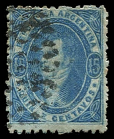 Lot 19756:1864-66 Rivadavia Wmk RA Perf 11½ SG #18 15c blue, Cat £80.