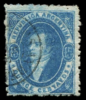 Lot 3304:1864-66 Rivadavia Wmk RA Perf 11½ SG #18 15c blue, rough perfs, Cat £80.