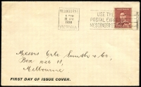 Lot 4552:Orlo-Smith & Co 1938 1½d Red-Brown KGVI on plain 'FIRST DAY OF ISSUE COVER.' neatly self-addressed.