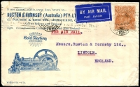 Lot 847:1934 (Jun 15) use of 5d KGV on nice illustrated cover for Ruston & Hornsby Pty Ltd, airmail to England.