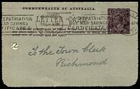 Lot 679:1918-20 1½d KGV Sideface BW #LC42(51) P12½ grey speckled card, white inside, 'GIBBERABONG CREEK, N.S.W.' with view of rowing boat in creek, cancelled with Melbourne 8AUG1919, Cat $100, filing holes.