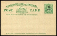 Lot 462:1923 'ONE/PENNY' On 1½d KGV Sideface Obsolete Stock BW #P60 1½d green (No P54), fresh unused, Cat $250