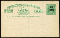 Lot 674:1923 'ONE/PENNY' On 1½d KGV Sideface Obsolete Stock BW #P59 1½d green (No P53), fresh unused, Cat $750