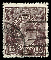 Lot 511:1½d Black-Brown Die I - [1R24] Small dot above A of AUST and cut in top frame above tip of right wattles