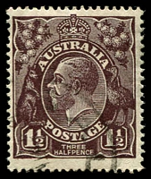 Lot 176:1½d Black-Brown Die I - BW #83a [2L34] Wmk inverted with Projection from lower margin of POSTAGE band between S and T, Cat $50.